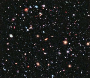 100s of galaxies seen through the Hubble Deep Field (HDF), as they were 10 billion years ago